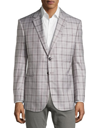 Windowpane Jacket in Silk/Wool Blend, Black