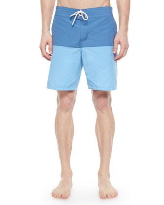 Colorblock Swim Trunks, Blue