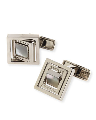 Mother-of-Pearl Gyro Square Cuff Links