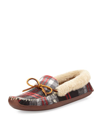 Shearling Fur-Lined Plaid Slipper, Red Multi