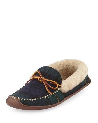 Shearling Fur-Lined Plaid Slipper, Navy/Green