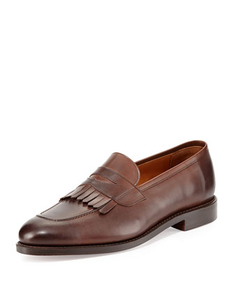 Leather Kiltie Penny Loafer, Brown