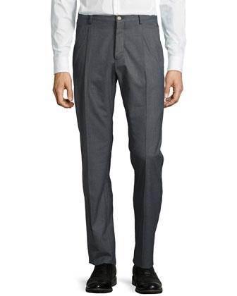 Pleat Straight-Leg Trousers, Gray