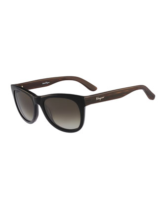 Square Plastic Sunglasses,Grain/Black