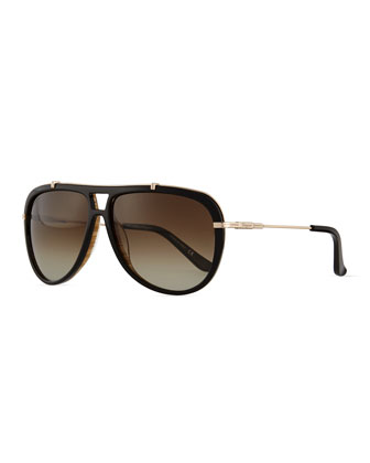 Gladiator Metal/Acetate Sunglasses, Black/Woodgrain