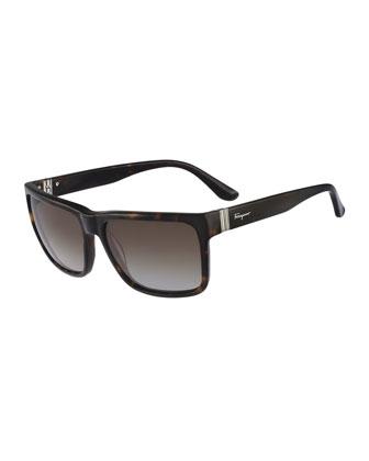 Square Plastic Sunglasses, Havana Tortoise