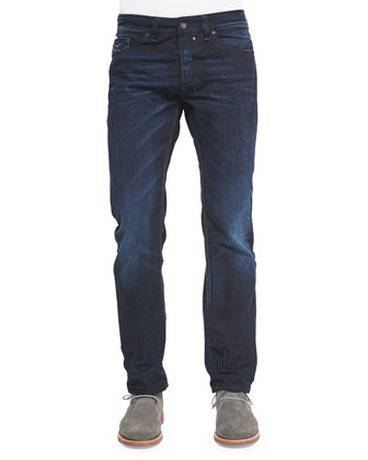 Straight-Leg Denim Jeans, Dark Blue