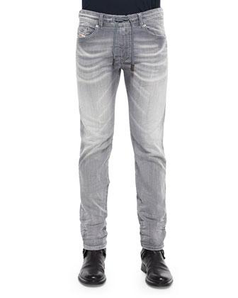 Waykee Straight-Leg Jogger Jeans, Dark Gray