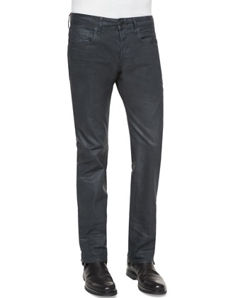 Defend Coated Straight-Leg Jeans, Dark Blue