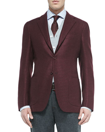 Houndstooth Three-Button Jacket, Cashmere/Silk Cardigan Vest, Plaid ...