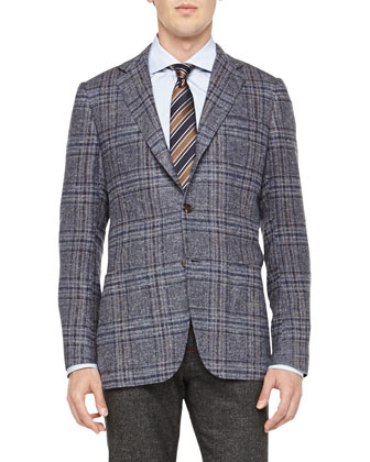 Plaid Three-Button Jacket