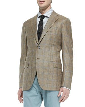 Two-Button Cashmere Sport Coat Camel Blue Windowpane