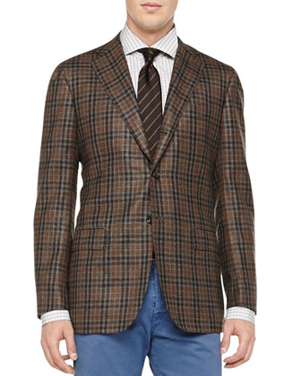 Check Three-Button Jacket, Long-Sleeve Plaid Shirt & Washed Twill ...