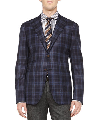 Cashmere Plaid Jacket, Navy/Brown