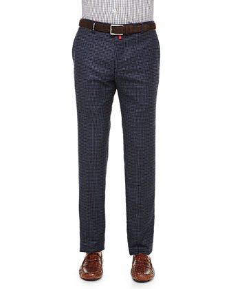 Check Cashmere-Blend Trousers, Navy/Brown