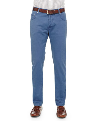 Washed Twill Five-Pocket Pants, Blue