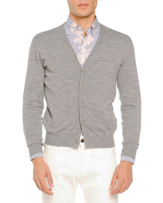 Merino Cardigan Sweater, Bleached-Placket Woven Shirt & White Five-Pocket Jeans