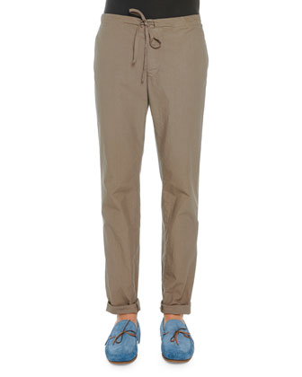 Lightweight Drawstring Pants, Taupe