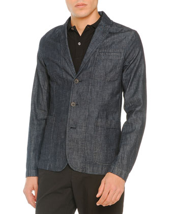 Denim 3-Button Blazer, Bleached-Bottom Polo & Lightweight Drawstring Pants
