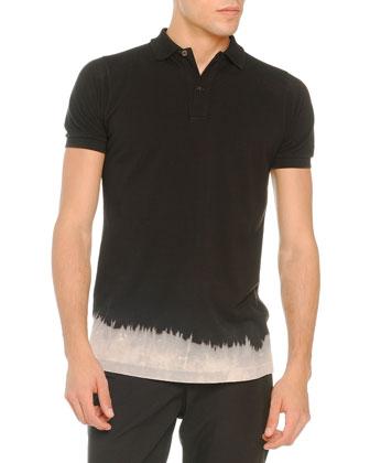 Denim 3-Button Blazer, Bleached-Bottom Polo & Lightweight Drawstring Pants