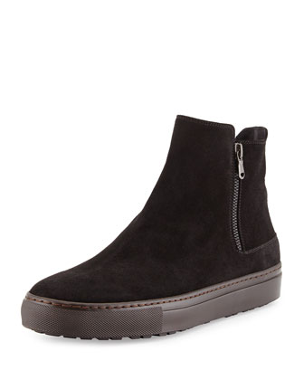 Barclay Sport Suede Zip Boot, Black