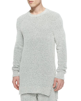 Fuzzy Crewneck Sweater, Gray