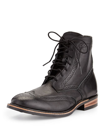Harkin Leather Wing-Tip Boot, Black