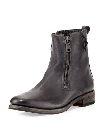 Parisian Double-Zip Leather Boot, Black