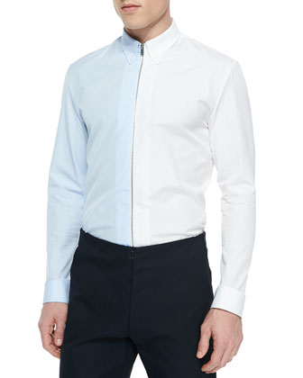 Bicolor Zipper-Down Shirt, Blue/White