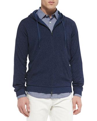 Vintage Melange Jersey Lined Hoodie, Micro-Print Woven Shirt & Slim-Fit ...