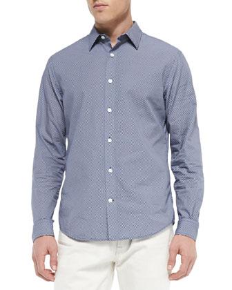 Micro-Print Woven Shirt, Navy