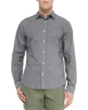 Micro-Floral-Print Shirt, Black