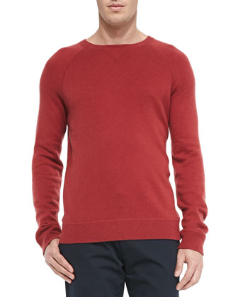 Wool/Cashmere Crewneck Sweater, Red