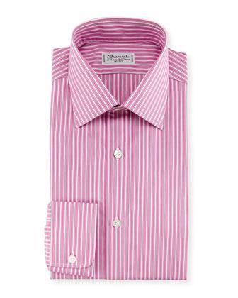 Ribbon-Striped Dress Shirt, Pink