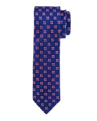Floral-Pattern Silk Tie, Navy/Pink
