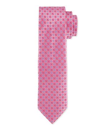 Floral-Pattern Polka-Dot Silk Tie, Pink/Navy