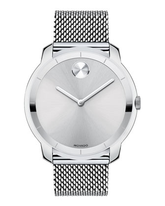 44mm Bold Watch with Mesh Bracelet, Silver