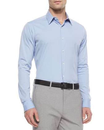 Sylvain Perry Woven Sport Shirt, Light Blue