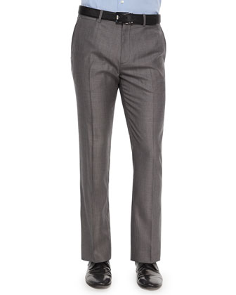 Marlo Text-Dot Wool Trousers, Dark Gray