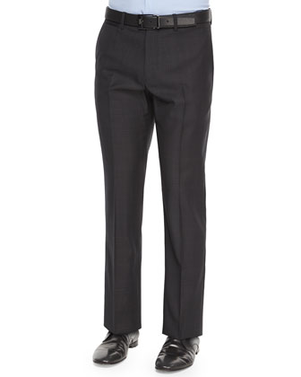 Marlo Ganler Large-Plaid Wool Trousers, Black
