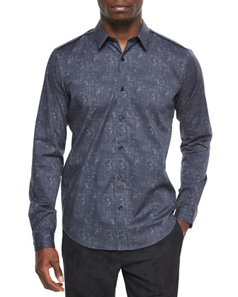 Long-Sleeve Abstract-Print Sport Shirt