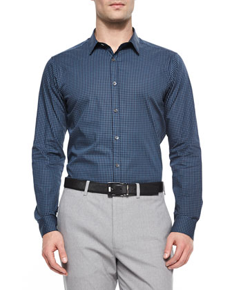 Zach PS Small-Check Stretch Shirt, Blue