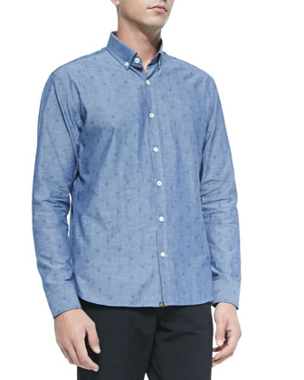 Printed Woven Shirt, Blue