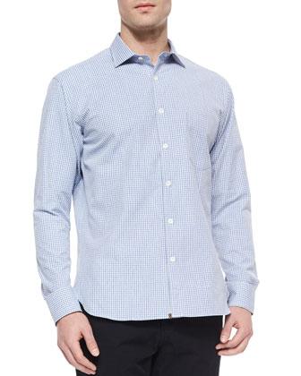Woven Check Button-Down Shirt, Light Blue