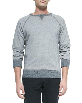 Fine-Stripe Crewneck Sweatshirt, Medium Brown