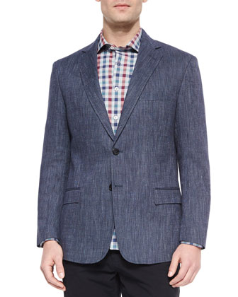 Lexington Cotton-Blend Blazer, Woven Check Button-Down Shirt & Cotton-Twill ...