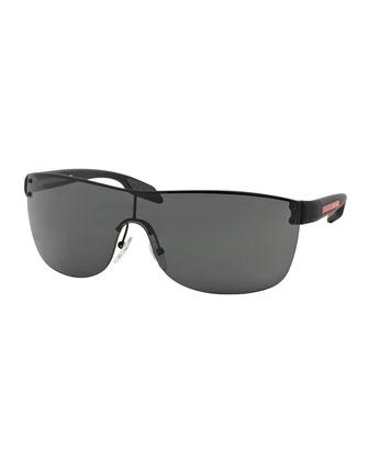 Men's Metal Wrap Sunglasses, Black
