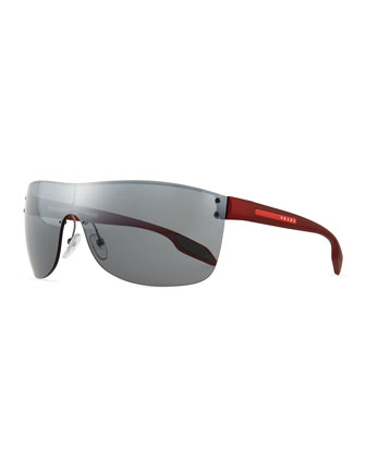 Men's Metal Wrap Sunglasses, Red