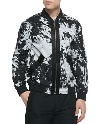 Reversible Tie-Dye Bomber Jacket, Black/White