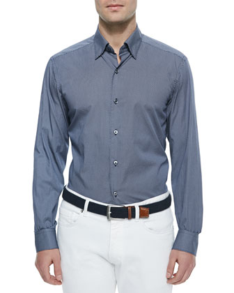 Circle-Print Sport Shirt, Ink Blue